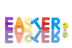 Easter Background With Yellow Baby Chicks Royalty Free Stock Photos