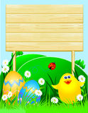 Easter background with wooden sign Royalty Free Stock Photos