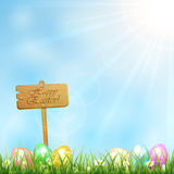 Easter background with wooden sign Stock Image