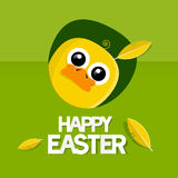 Easter Background with Yellow Chicken Royalty Free Stock Photography