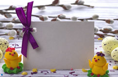 Easter Background with yellow easter eggs pussy willow branches purple ribbon and little chickens space for text. Royalty Free Stock Photos