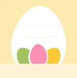 Yellow dotted easter background with eggs and copy Royalty Free Stock Images