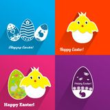 Easter backgrounds with eggs and chickens Stock Photo