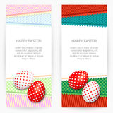 Easter backgrounds. Set of two Easter backgrounds with patterned napkins and painted Easter eggs vector illustration