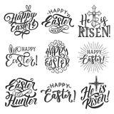 Easter holiday badge of egg, rabbit ear and cross Royalty Free Stock Image
