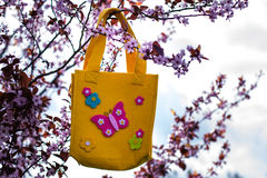Easter bag. Hanging in a cherry tree Royalty Free Stock Photos