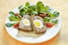 Easter baked meatloaf with boiled eggs Royalty Free Stock Photography