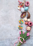 Easter bakery foods and confectionery with space Stock Photography
