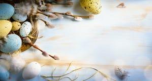 easter bakgrund med den easter ägg och våren blommar Top beskådar Arkivbilder