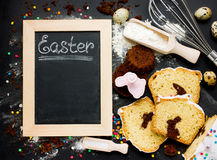 Easter baking background. Festive cake with chocolate bunny insi Royalty Free Stock Image