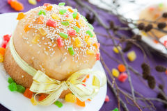 Easter baking, big biscuit cake Stock Images