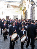 EASTER BAND MUSIC IN JEREZ, SPAIN. Jerez de la Frontera easter celebration, Spain Europe.During this celebration, the Easter brotherhoods process through the old Royalty Free Stock Images
