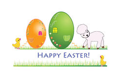 Easter banner. With a little ducj and a lamb Royalty Free Stock Photography