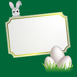 Easter banner. Copy space with easter eggs and rabbit Stock Image