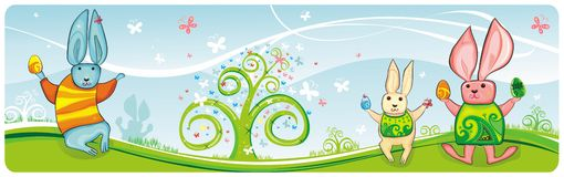 Easter banner. Horizontal high detailed Easter banner with bunnies, easter eggs, spring flowers and butterfly Royalty Free Stock Photo