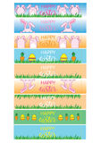 Easter banner with banny, eggs and carrots. Vector packaging design for eggs Stock Image