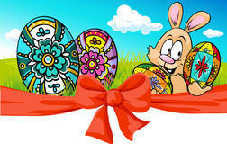 Easter banner with bow and bunny - vector Royalty Free Stock Images