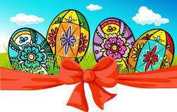 Easter banner with bow and painted egg Stock Photography