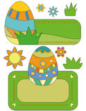 Easter Banner Collection. With eggs, flowers and grass vector illustration