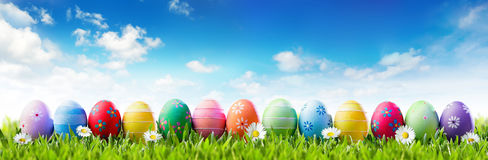 Easter Banner - Colorful Painted Eggs In Row Royalty Free Stock Photography
