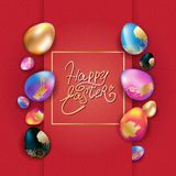 Easter banner design with colorful eggs stock illustration