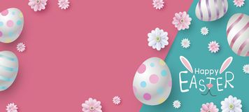 Easter banner design of eggs and flowers on color paper royalty free stock image