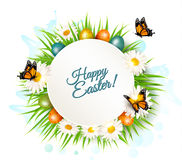 Easter banner with easter eggs and daisies. Royalty Free Stock Images