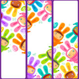 Easter Banner with egg hunting rabbit children Royalty Free Stock Photography
