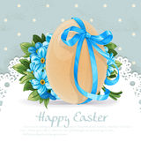 Easter banner with egg tied a blue ribbon and bouqu Royalty Free Stock Photos
