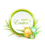 Easter banner with eggs and flower Stock Photos