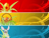 Easter banner with eggs, rabbit and basket Stock Image