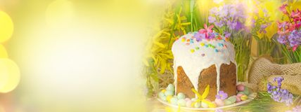 Easter banner with Easter eggs royalty free stock images