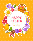 Easter Banner with Flat Icons and Circle Frame Stock Photo