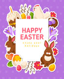 Easter Banner with Flat Icons and Square Frame Stock Photography