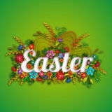 Easter banner with flowers in quilling technique. Vector illustration Stock Photography