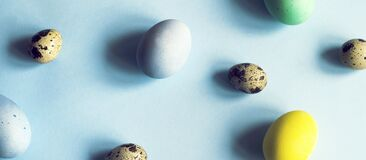 Easter Banner For The Site In Blue With Eggs Stock Image