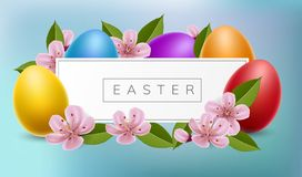 Easter banner frame with eggs and cherry flower. Easter frame with pink cherry flower and colorful Easter eggs. Vector illustration for spring and Easter holiday Stock Photos