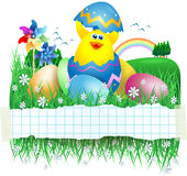 Easter banner with funny chick Stock Photography