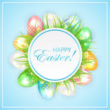Easter banner with grass and colorful eggs Stock Photography