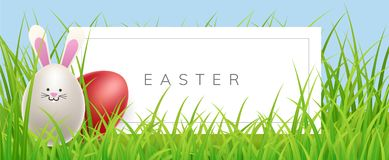 Easter banner in grass with egg rabbit. Easter horizontal banner in grass with white egg rabbit and red egg. Vector illustration for spring and Easter holiday Stock Photo