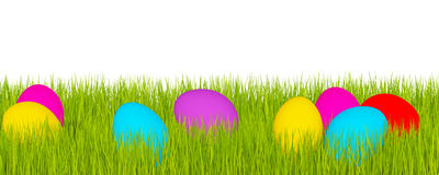 Easter banner, green grass and Easter eggs Royalty Free Stock Photo