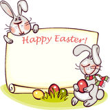 Easter banner. Happy easter banner. easter  bunny and eggs. vector background Stock Photos