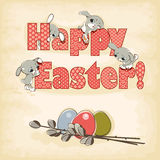 Easter banner. Happy easter banner. easter rabbit and egg Stock Photo