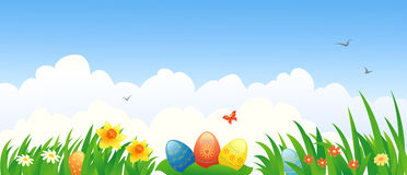 Easter banner. Illustration of Easter eggs and flowers Royalty Free Stock Photos