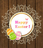 Easter banner with lace and eggs Stock Photography