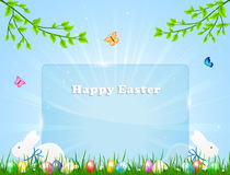 Easter banner with rabbits Stock Image