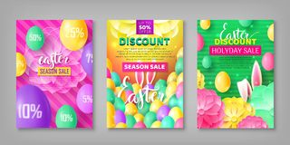 Easter banner set. Collection of stickers on festive theme with eggs, rabbit ears. Vector illustration of leaflets with discounts and sales Stock Image