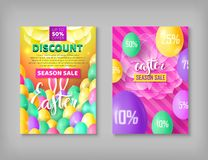 Easter banner set. Two flayers on festive theme with eggs, rabbit ears. Vector illustration of leaflets with discounts and sales Stock Photo