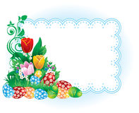 Easter banner with spring flowers and eggs Stock Photo