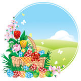 Easter banner with spring flowers and painted eggs vector illustration